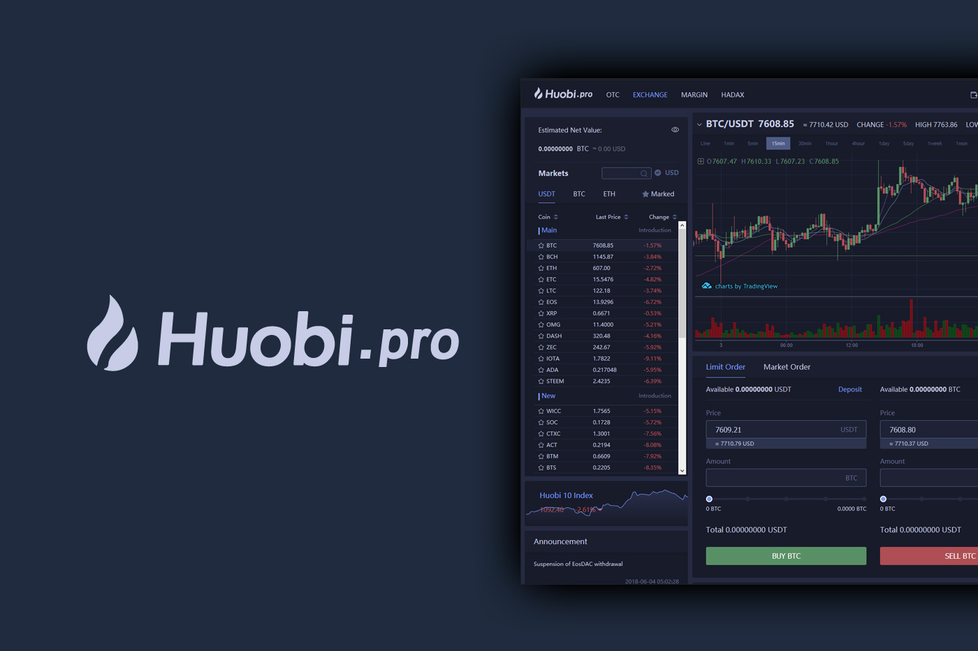 Huobi.pro - Safely Buy and Sell Cryptocurrency - Bitcoin, XRP, Tron, Ethereum, Litecoin, Ontology, NEO, Stellar Lumens