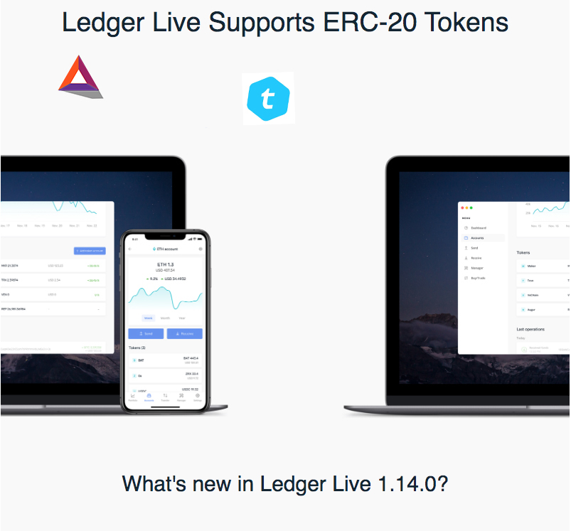 Ethereum ERC-20 tokens are now supported on Ledger Live22