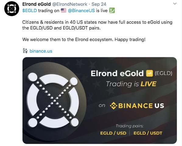 Elrond (eGLD) Trading Goes Live on Binance.US 00