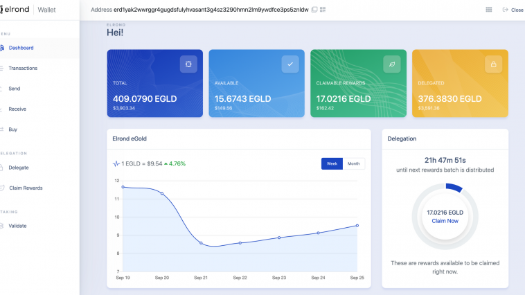 Elrond's (eGLD) New Wallet is Live But Still No Staking.png022