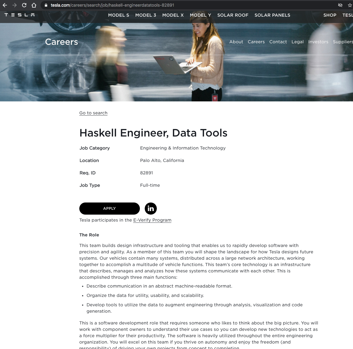Tesla Seeking to Hire Haskell Engineer to Build Design Infrastructure and Tooling